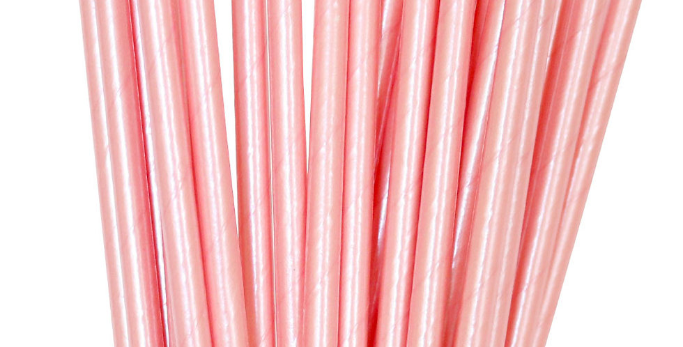 Paper Straws Pink Foil (P25) - ILLUME