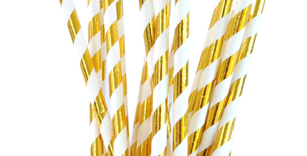 Gold Foiled Striped Paper Straws (P25)