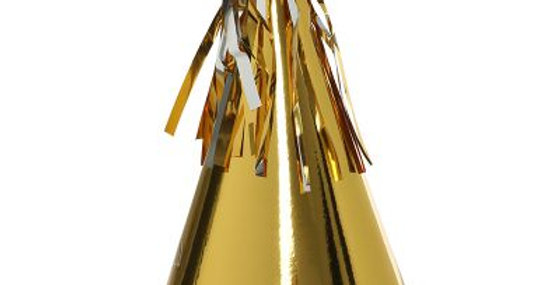 Paper Party Hat with Tassel Topper - Gold (P10)