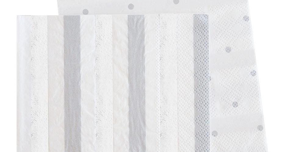 Silver Stripes & Dots Napkin (P20) - ILLUME