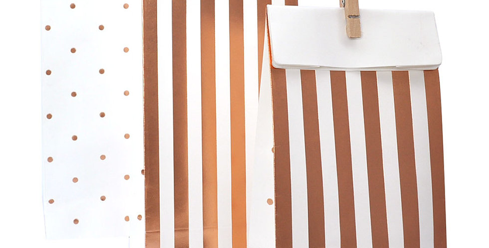 Stripes and Dots Treat Bags Rose Gold - (P10)