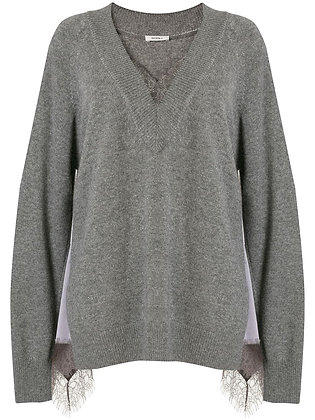 Goen.J Lace-trimmed V-neck Jumper