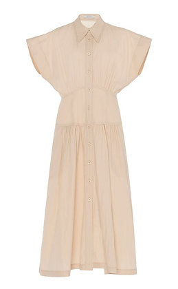 Low Classic Waist Shirring Dress - Beige