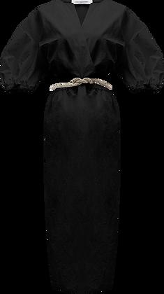 Christopher Esber Ruched Crystal Tie Dress - Black