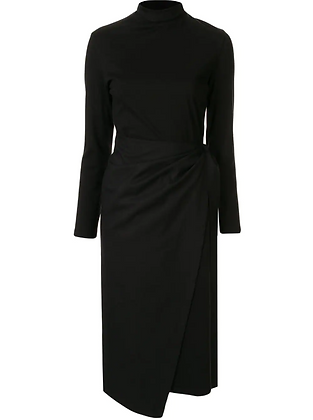 Goen.J Overlay Jersey & Woven Wrap Dress
