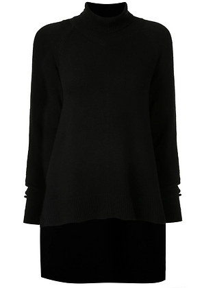 Goen.J Asymetric Draped Turtleneck Knit Top