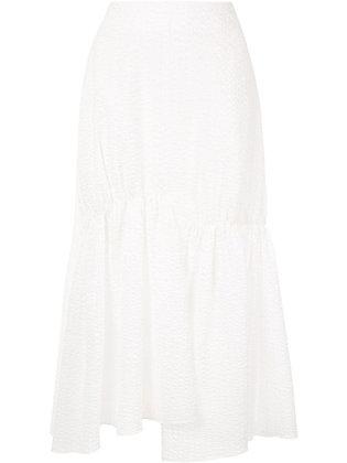 Goen.J Asymmetric flared skirt - White