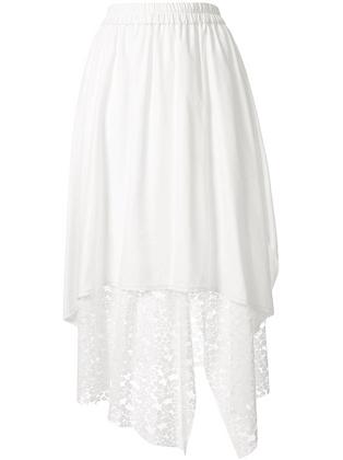 Goen.J Asymmetric Layered Skirt - White