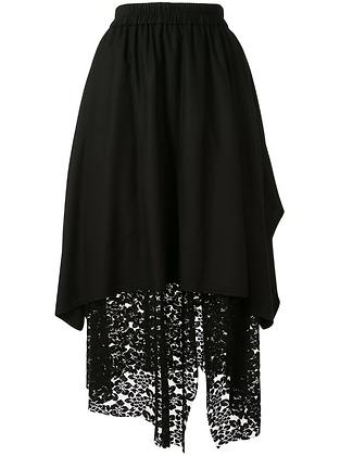 Goen.J Asymmetric Layered Skirt - Black