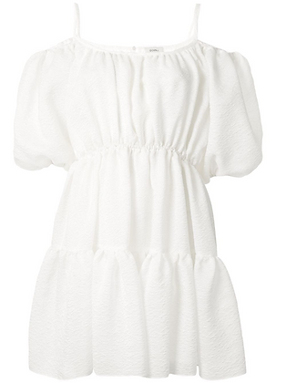 Goen.J Balloon Matelassé Mini Dress - White