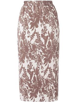 Goen.J Pleated Print Satin Skirt