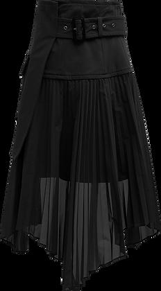 The Keiji Pleated Wrap Panel Shorts - Black
