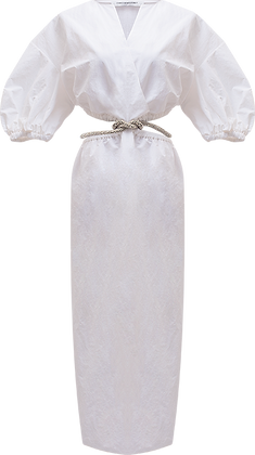 Christopher Esber Ruched Crystal Tie Dress - White
