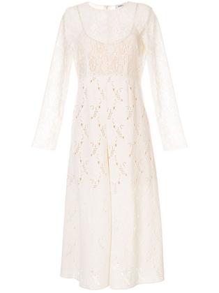 Goen.J Velvet Flocked Flare Lace Dress