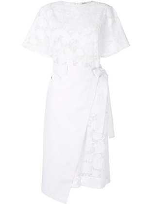 Goen.J Burn-out denim wrap dress - White