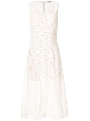 Goen.J Velvet Flocked Contrast Paneled Lace Dress