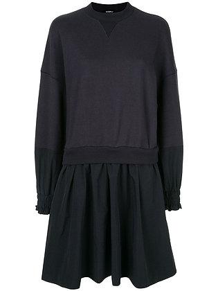 Goen.J Layered Cotton Jersey & Nylon Sweatshirt Dress