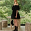 Goen.J Balloon Matelassé Mini Dress - Black
