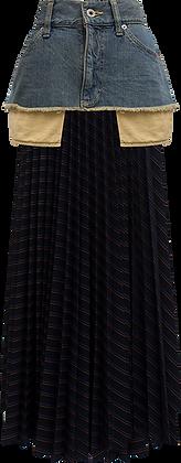The Keiji Denim Panel Stripe Pleated Skirt