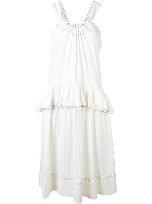 Goen.J Shoulder strap ruffled dress - White