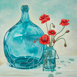 Poppies and Blue Glass