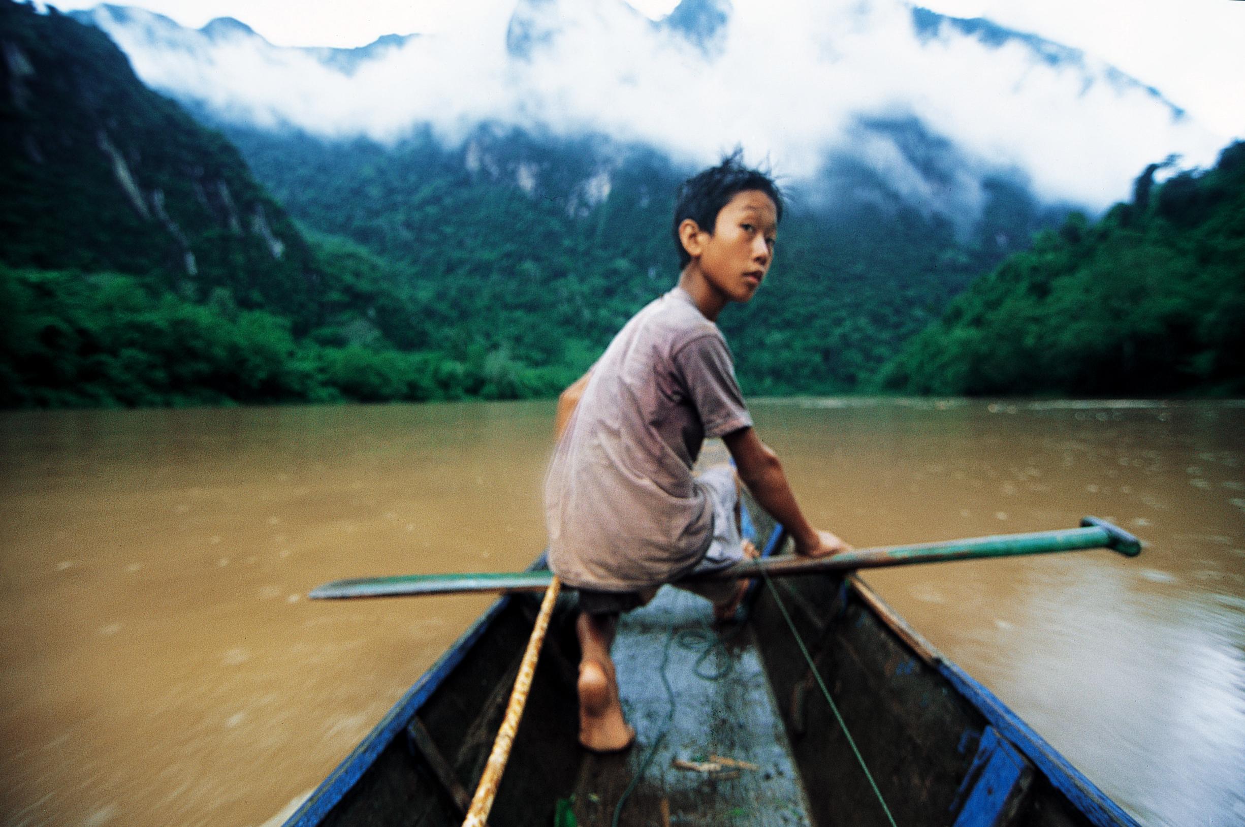 El Capitan del barco. Laos