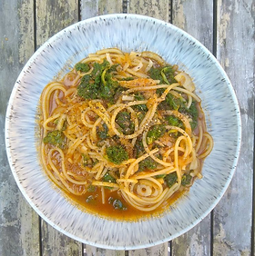 Celeriac is used in place of celery in this pasta dish inspired by a Bloody Mary Serves 2 · 1 head of celeriac · Spaghetti · 3 handfuls...