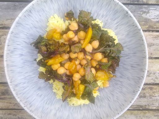 Roasted Kalettes with Lemon & Thyme Rice and Candied Garlic.