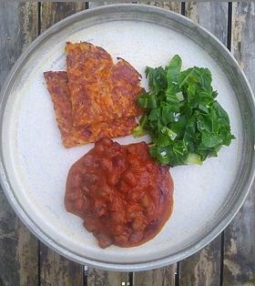 Carrot & Potato rosti with baked fava beans and greens · Any root veg- carrots, parsnips, celeriac · Potato · Salt · Pepper · Oil GLUTEN...