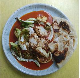 · 1 small cauliflower and leaves · 1 tin tomatoes · Tomato puree · Salt · Sugar · Oil · Garlic · Ginger · Tamarind paste Spices · ½ tsp C...