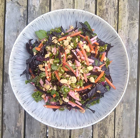 · 250g red cabbage (or mix of red cabbage, kale, spring cabbage etc.) · 1 large carrot (about 190g) · 1 apple · 2 limes · 3-4 green...