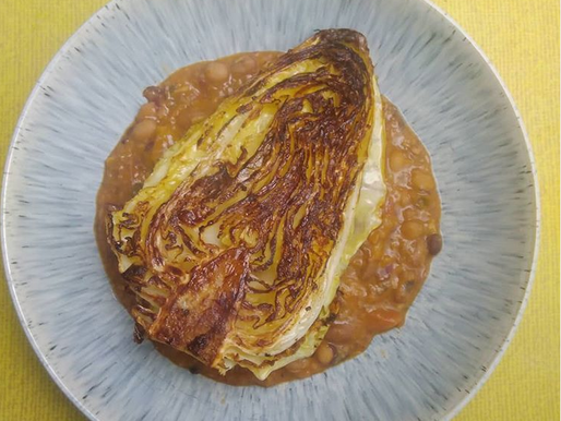 Roasted Hispi Cabbage -with a quick store cupboard sauce