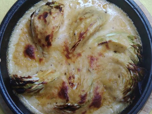 Roast 'January King' Cabbage with 'Cheese' Sauce