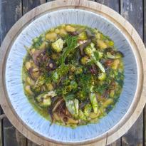 roast broccoli, butter bean and herb sou