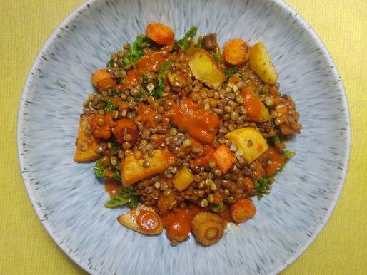 Roasted Root veg and Lentil Salad
