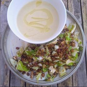 Soup with warm cauliflower leaf salad Serves 2-3 · ½ small celeriac · ½ leek · 1 small white onion · 2 handfuls of cauliflower florets ·...