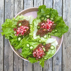 Mushrooms and walnuts are used to make a quick and simple chilli, to eat with lettuce 'tacos'. Radishes are marinated in lime to make a...