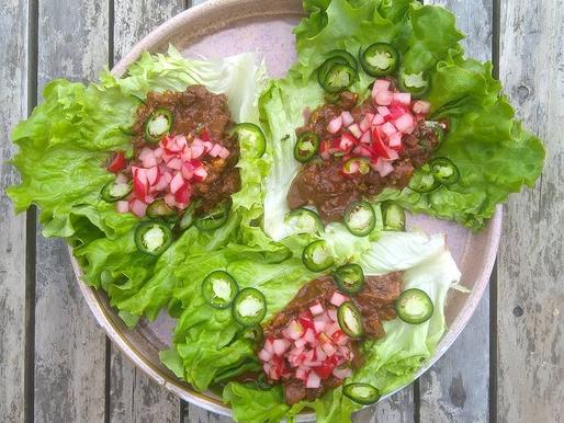 Mushroom & Walnut Lettuce Tacos with  Radish Salsa