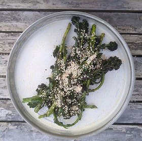 Beautiful seasonal purple sprouting broccoli with a super savoury seasoning made with seaweed and sesame. SERVES around 2. Vegan. For the...