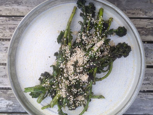 Purple Sprouting Broccoli with Seaweed, Sesame and Chilli seasoning.