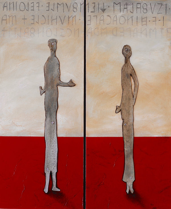 Alan Clarke Nelson NZ artist, the etruscans, aged steel on oil painting