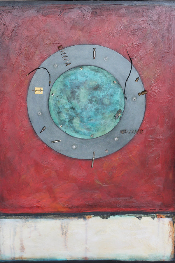 Alan Clarke Nelson NZ artist, space junk, old metal and copper disks representing earth and atmosphere with space junk circling ... contemporary oil painting