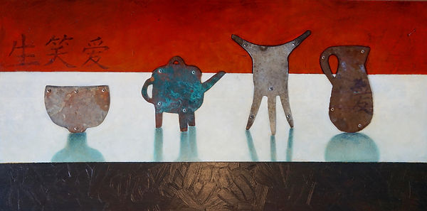 Alan Clarke Nelson NZ artist, aged steel and copper vessels on, oil painting background