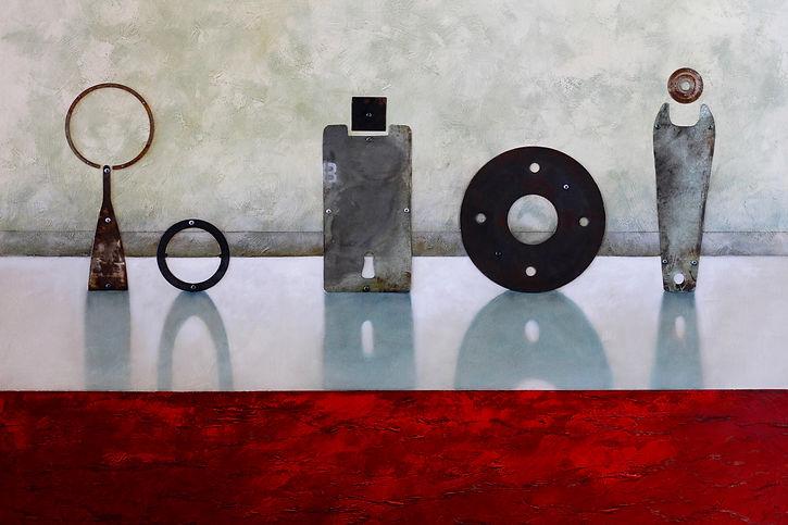 Alan Clarke Nelson NZ art, steel and copper on oil