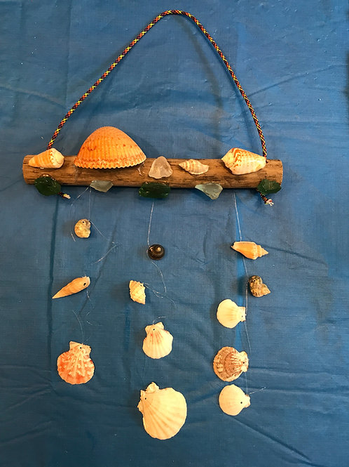 Hanging Shells and Sea Glass Wind Chime