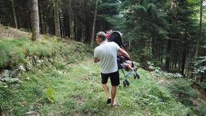 Only crazy people would take a stroller into the Black Forest....