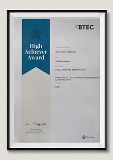 HKBHA ACADEMY 學員考獲 PEARSON BTEC High Achiever Award 傑出學員獎項 2020