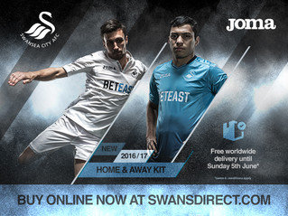 Swansea City's 2016-17 home and away kits