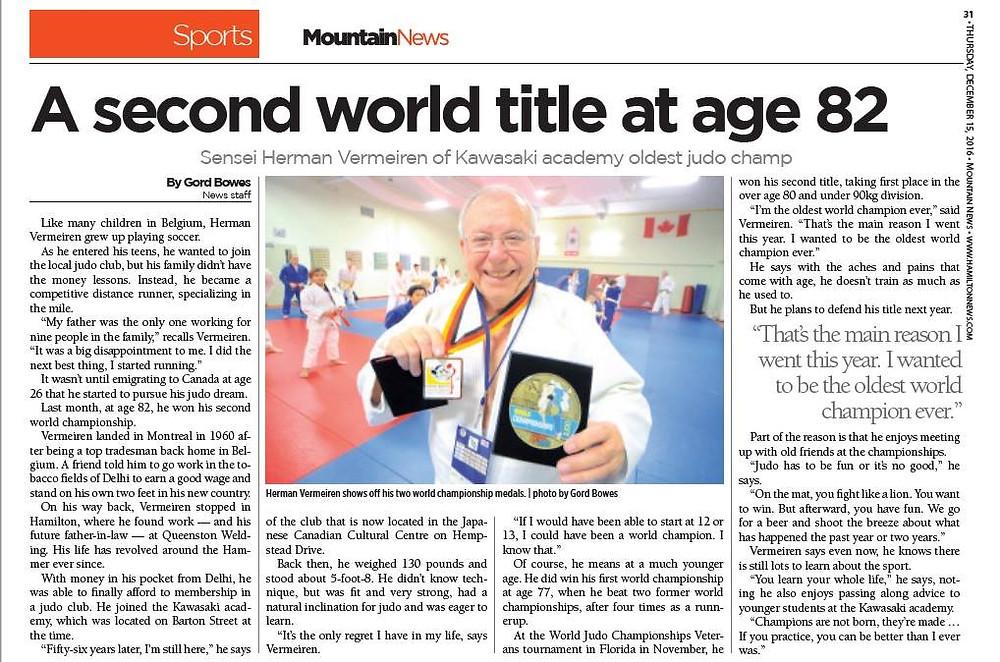 Sensei Herman Vermeiren World Champion Second time at age 82