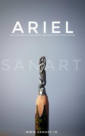ARIEL MERMAID     -MINIATURE pencil carving on lead